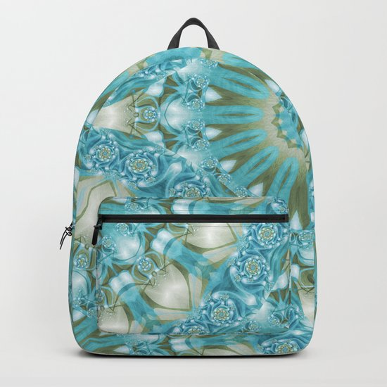 Turquoise and Gold Mandala Tile Backpack