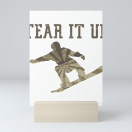Snowboarder Snowboarding Tear It Up Mini Art Print