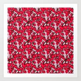 Pattern of Ripe Red Cherries Art Print