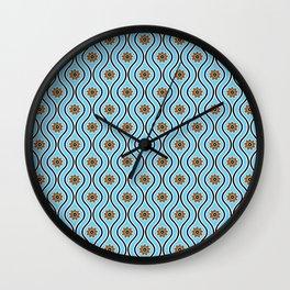 1970s Retro Vintage Blue Flower Power Pattern Wall Clock