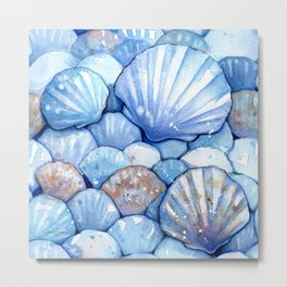 Sea Shells Aqua Metal Print