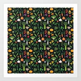 Blue Vegetables Art Print
