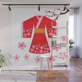 Red Kimono Cherry Blossom Wall Mural