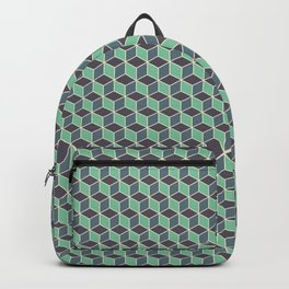 Pistachio Grey Seamless Cube Pattern Backpack