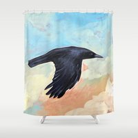 crow Shower Curtains featuring Crow by Gord Coulthart