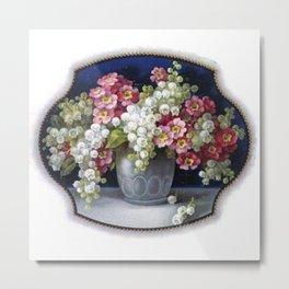 Elegant Vintage Flower Vase Metal Print
