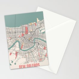 New Orleans - Louisiana Chalk City Map Stationery Cards