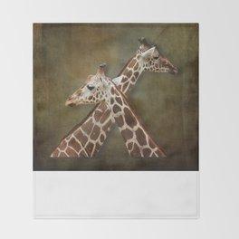 Giraffes Passing in the Night Throw Blanket