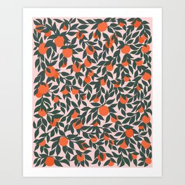 Oranges and Leaves Pattern - Pink Art Print