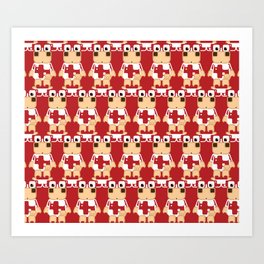 Super cute cartoon cow in red - a moo-st have design for  cow enthusiasts! Art Print