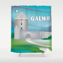 Galway, Ireland - Skyline Illustration by Loose Petals Shower Curtain