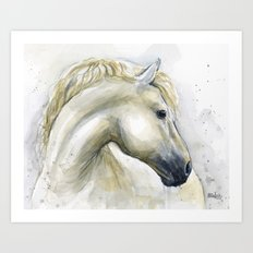 White Horse Watercolor Painting Animal Horses Art Print