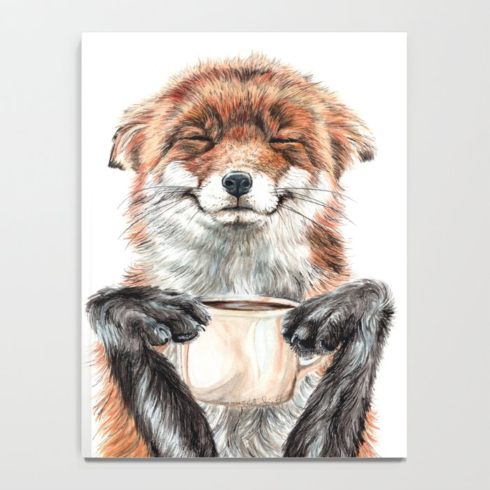 """"""" Morning fox """" Red fox with her morning coffee Notebook"""