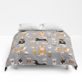 Shiba Inu coffee dog breed pet friendly pet portrait coffees pattern dogs Comforters