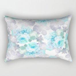 Modern teal gray chic romantic roses flowers Rectangular Pillow