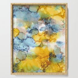 Alcohol Ink 'Fools Gold' Serving Tray