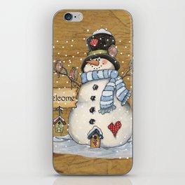 Folk Art Snowman Christmas iPhone Skin