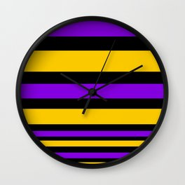 Black , purple , yellow stripe Wall Clock