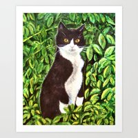 kitty Art Prints featuring Kitty by gretzky