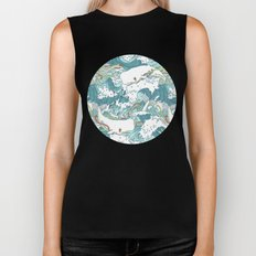 Whales and waves pattern Biker Tank