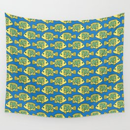 Tropical Fish in Pastel - Doodle Pattern Wall Tapestry