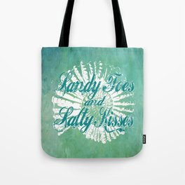 Sandy Toes and Salty Kisses with Nautilus Shell Graphic Design Tote Bag
