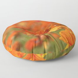 Orange Happiness Floral by Reay of Light Photography Floor Pillow