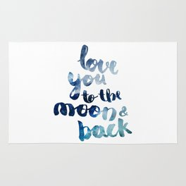 """ROYAL BLUE """"LOVE YOU TO THE MOON AND BACK"""" QUOTE Rug"""