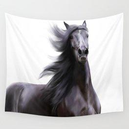 Black running horse Wall Tapestry