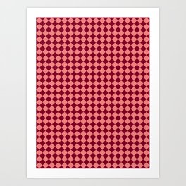 Coral Pink and Burgundy Red Diamonds Art Print