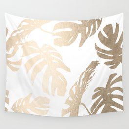 Simply Tropical Palm Leaves in White Gold Sands Wall Tapestry