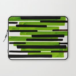 Lime Green Primitive Stripes Mid Century Modern Minimalist Watercolor Gouache Painting Colorful Stri Laptop Sleeve