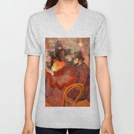 """Henri de Toulouse-Lautrec """"At the Moulins Rouge"""" Unisex V-Neck"""