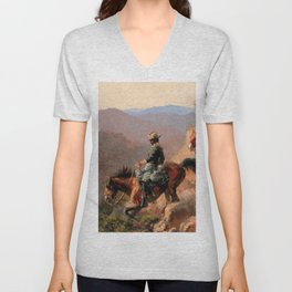 """Frederick Remington Western Art """"With the 10th Cavalry"""" Unisex V-Neck"""
