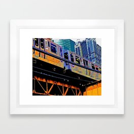 Chicago 'L' in multi color: Chicago photography - Chicago Elevated train Framed Art Print