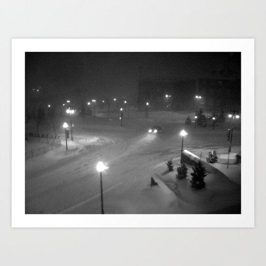 A car in the snowy night. Art Print