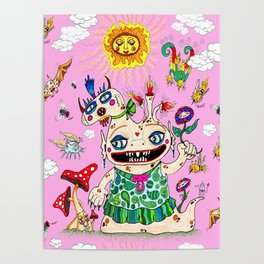 Little Baby Girl She-Beast and Friends, Pink Poster