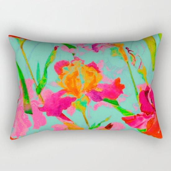 bright abstract iris on turquoise Rectangular Pillow