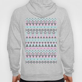 Aztec Influence Pattern III Blue Black Pink White Hoody