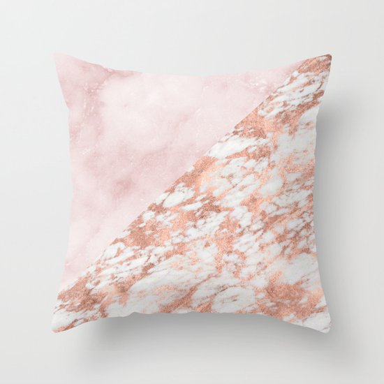 Rose gold & pinks marble Throw Pillow