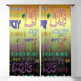 EVERYTHING IS HAPPY - BLACK YELLOW ORANGE OMBRE ZEN TYPOGRAPHY DESIGN Blackout Curtain