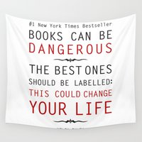 helen Wall Tapestries featuring Books Can Be Dangerous - Helen Exley Book Quote Typography  by Artsunami