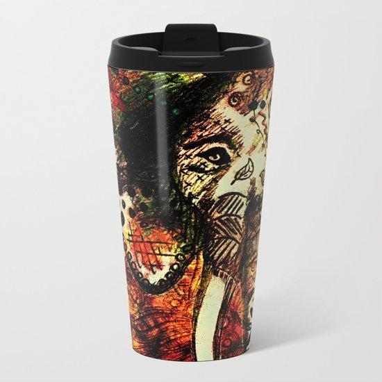 Patterned Sketched Elephant Metal Travel Mug