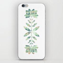 Folkart Leaves and Flowers Design / Batik Tie Dye / green, brown, Corel iPhone Skin