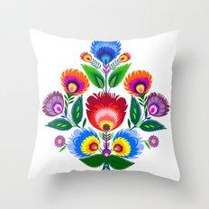 folk flowers ornament  Throw Pillow