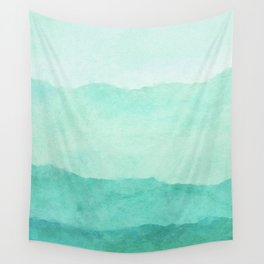 Ombre Waves in Teal Wall Tapestry
