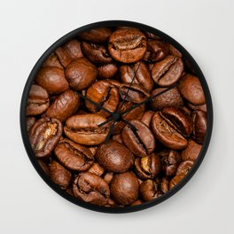 Shiny brown coffee beans Wall Clock