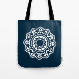 Warrior white mandala on blue Tote Bag