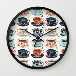Tea Time – Coral & Teal Wall Clock