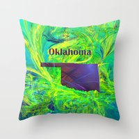 oklahoma Throw Pillows featuring Oklahoma Map by Roger Wedegis